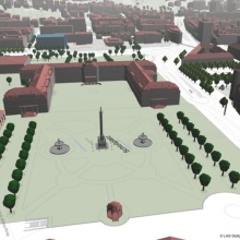 "Press release 036: 3-D model of Stuttgart's ""Schlossplatz"". The project Windy Cities builds on simulations like these.  Copyright: Landeshauptstadt Stuttgart, Stadtmessungsamt"