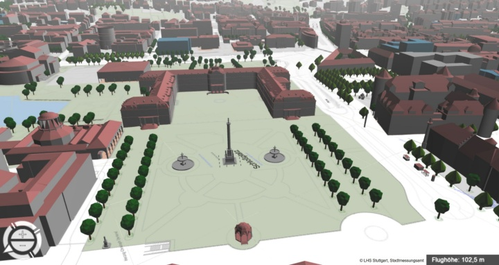 "3-D model of Stuttgart's ""Schlossplatz"". The project Windy Cities builds on simulations like these.  (c) Landeshauptstadt Stuttgart, Stadtmessungsamt"