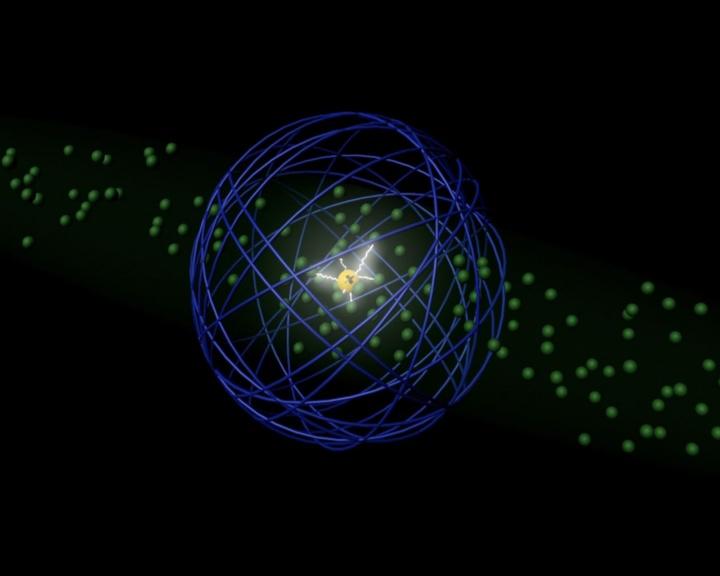 Der geladene Kern eines Riesenatoms wechselwirkt mit benachbarten Atomen, während das Elektron weit entfernt den Kern vor elektrischen Störfeldern schützt.