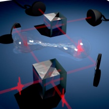 Press release 50: Two single-photons are overlapped on a beam splitter and generate a so-called biphotonic path-entangled NOON state.  Copyright: Universität Stuttgart/IHFG