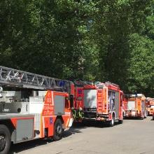 Feuerwehreinsatz am Pfaffenwaldring Universität Stuttgart.