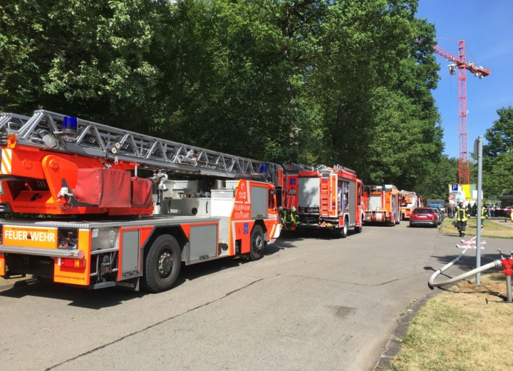 Feuerwehreinsatz am Pfaffenwaldring Universität Stuttgart. (c) Universität Stuttgart