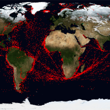 Ship signals received within the last 24 hours with the help of the AIS receiver Ship signals received within the last 24 hours with the help of the AIS receiver