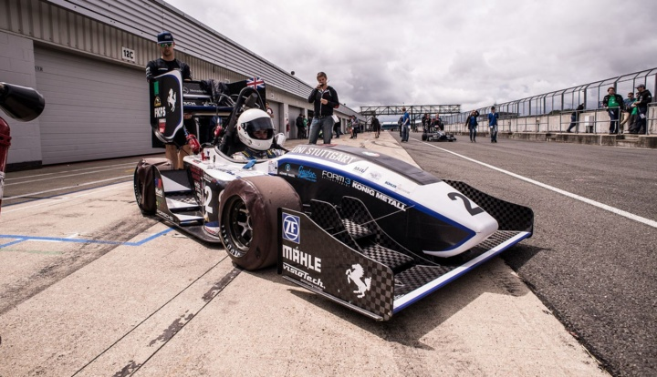 Racing car of the racing team with the newly developed braking system.