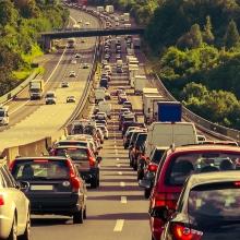 Long traffic jam on a highway.