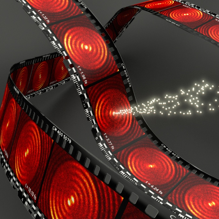 Symbolic image of the experimentally measured snapshots at different times for short-range surface plasmons (excited with light at 800 nm wavelength), the nanofocus in the center which is created, and the electrons ejected by the nanofocus.  (c) University of Stuttgart / 4th Physics Institute