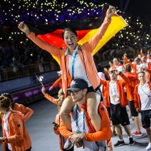 Press release 75: Kim Bui was flag bearer of the German team at Universiade in Taiwan. Copyright: adh/Arndt Falter