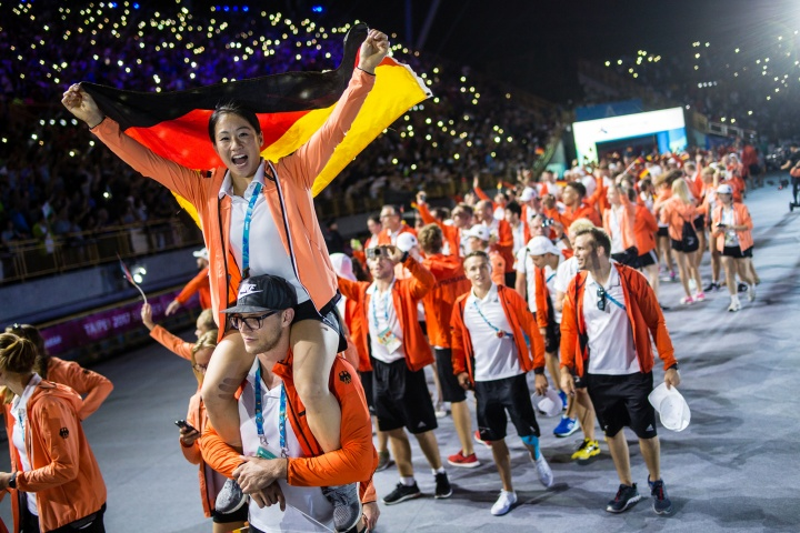 Kim Bui was flag bearer of the German team at Universiade in Taiwan. (c) adh/Arndt Falter