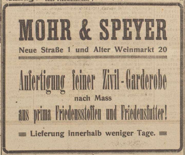 Zeitungsanzeige Mohr & Speyer 2918 (c)
