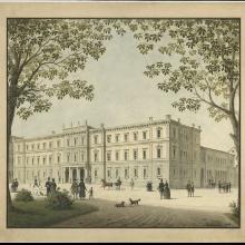 Perspektivische Zeichnung des Stuttgarter Kronprinzenpalais, entworfen von Ludwig Friedrich Gaab 1844.