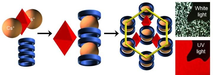 Durch Einbetten von phosphoreszierenden Cäsium-Metallclustern (rote Oktaeder) in organische Flüssigkristalle (blaue Ringe) entstehen Hybridnanomaterialien, die bei Bestrahlung mit UV-Licht intensives rotes Licht emittieren. (c) Universität Stuttgart/ IOC
