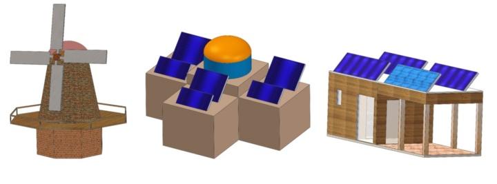 (v.l.n.r.) Schematische Darstellung der Konzepte für eine windbetriebene finnische Sauna, ein solarbetriebenes Hamam und eine hybride Anlage für süddeutsche Klimabedingungen. Darstellung: Universität Stuttgart/IES (c)