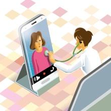 Ärztin untersucht Patientin am Handy (Symbolbild)