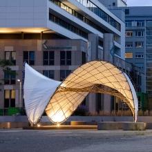 BioMat-Pavillon 2021 by night