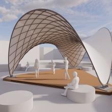 Visualisierung des BioMat Pavillons 2021.