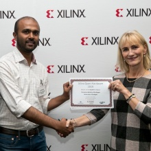 "Ponnanna Kelettira Muthappa, Student im internationalen Masterstudiengang ""Information Technology"" (InfoTech) der Universität Stuttgart, hat den Xilinx Open-Hardware-Wettbewerb in der Kategorie ""Student"" gewonnen."