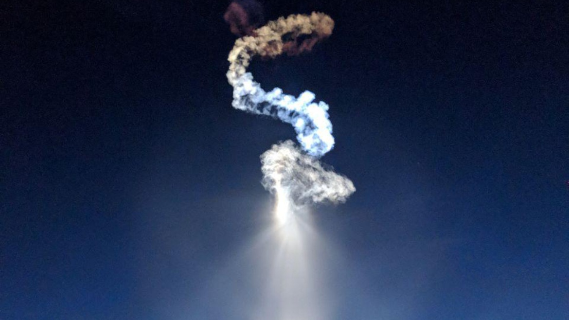 During take-off: The phenomenon in the picture is called rocket plume