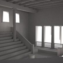 SW-3D-Rekonstruktion des Innenraums des Ratsgebäudes (Bouleuterion) in Athen, um 420/400 v.Chr. Verena Stappmanns