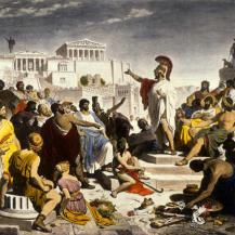 Der kolorierte Druck nach dem Gemälde von Philipp von Foltz (1805–1877) zeigt eine Versammlung der bedeutendsten Künstler, Dichter und Philosophen der Zeit https://commons.wikimedia.org