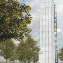 Press release 98: Visualization of the demonstrator high-rise building.  Copyright: University of Stuttgart/ILEK
