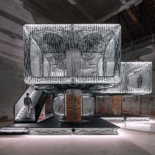 Das Maison Fibre ist begehbar und besteht aus robotisch gefertigten Bauelementen aus Fasern