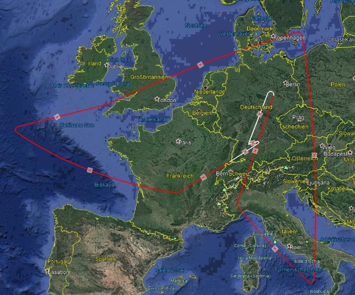 Die Flugroute von SOFIA für den ersten wissenschaftlichen Beobachtungsflug über Europa. (c) Google Earth