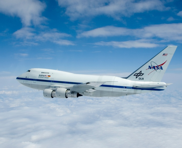 The flying observatory SOFIA is a refitted Boeing 747 SP.