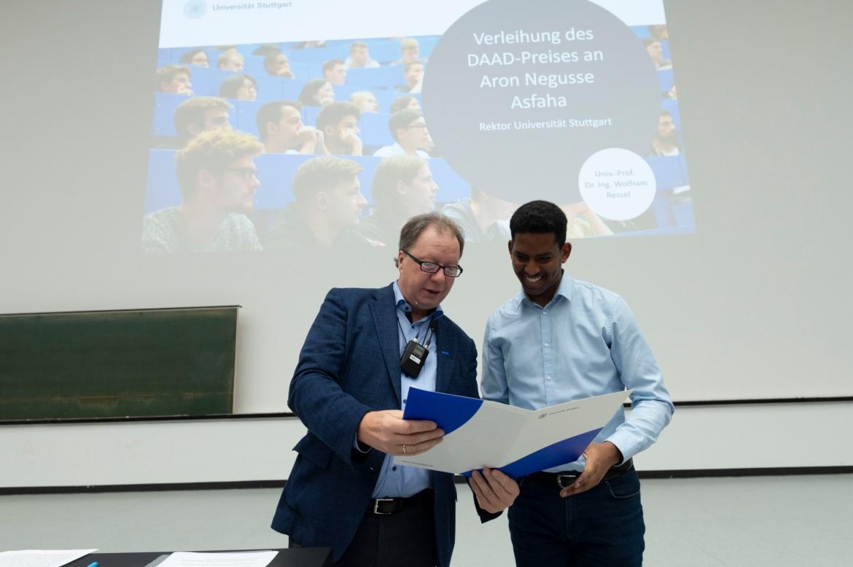 Verleihung des DAAD-Preises 2019 an Aron Negusse Asfaha