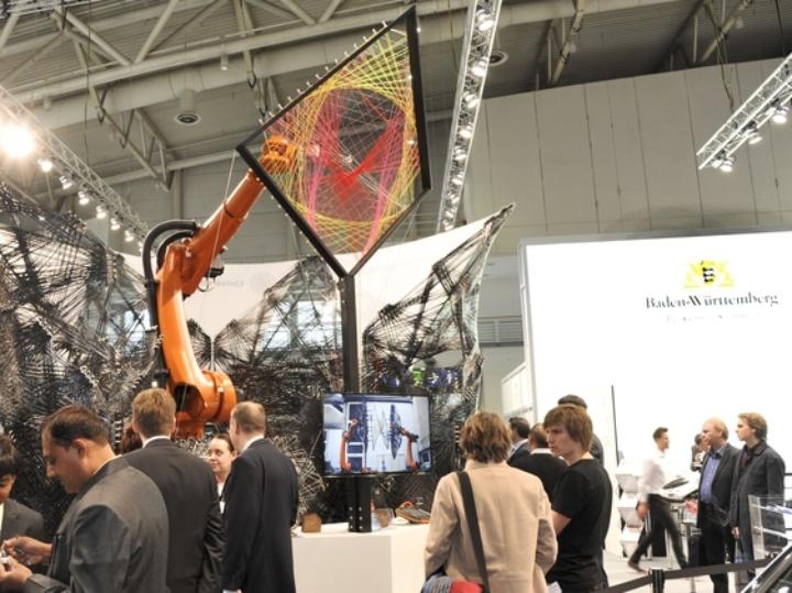 Carbon-fiber reinforced lightweight structure of the university fair booth.