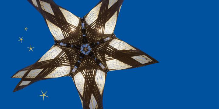 Das Bild zeigt einen Ausschnitt des BUGA Faserpavillons.  Die schwarzen Kohlestofffasern wickeln sich wie gespannte Muskeln um das lichtdurchlässige Glasfasergeflecht. (c) BUGA Faserpavillon 2019, Heilbronn, ICD/ITKE Universität Stuttgart, ©Roland Halbe