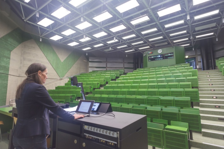 Empty lecture halls are used to record lectures.