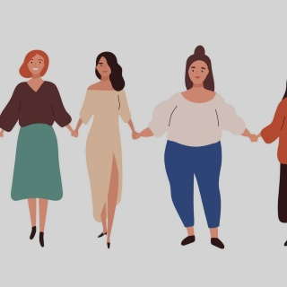 Frauen, die sich an den Händen halten
