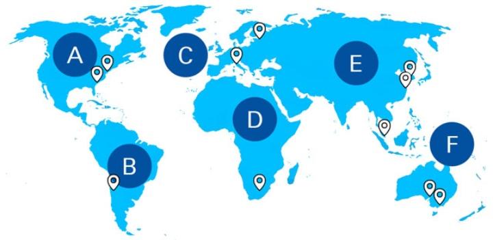 Weltkarte mit Standorten ausgewählter Kooperationshochschulen auf allen Kontinenten (c)