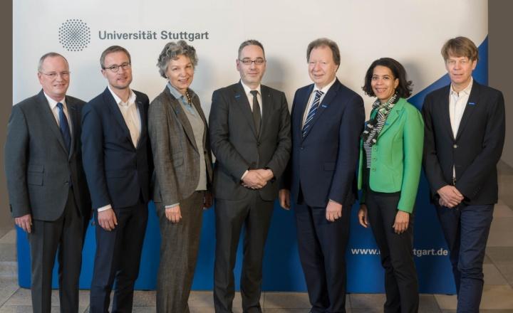The Rectorate: Univ.-Prof. Dr.-Ing. Hansgeorg Binz, Univ.-Prof. Dr.-Ing. Peter Middendorf, Dr. rer. nat. Simone Rehm, Dipl.-Ök. Jan Gerken, Univ.-Prof. Dr.-Ing. Wolfram Ressel, Univ.-Prof. Dr. Monilola Olayioye und Univ.-Prof. Dr.-Ing. Jan Knippers  (c) University of Stuttgart
