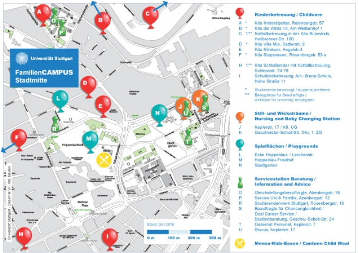 "The maps ""FamiliesCAMPUS Stadtmitte"" and ""FamiliesCAMPUS Vaihingen"" show all family-related locations of our university: childcare, diapering facilities, playgrounds and service points for families."