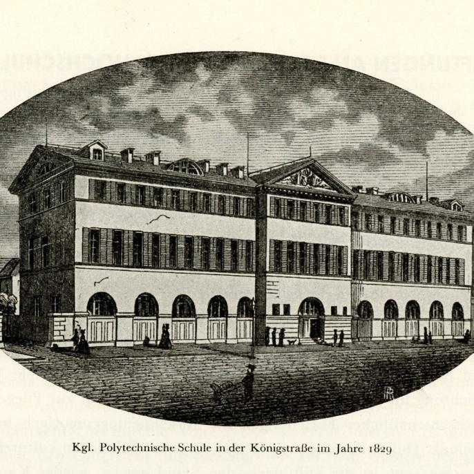 Das erste Gebäude war eine Polytechnische Schule in der Königstraße.
