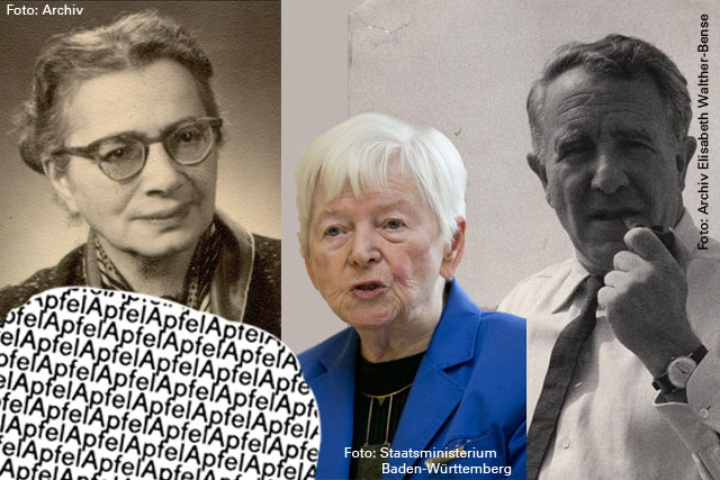 "Famous people in the humanities: Käte Hamburger (upper left), Elisabeth Walther-Bense (middle), Max Bense (right) and Reinhard Döhl's visual poetical ""Apfel"".  (c) Archiv Universität Stuttgart, Staatsministerium Baden-Württemberg, Archiv Elisabeth Walther-Bense"