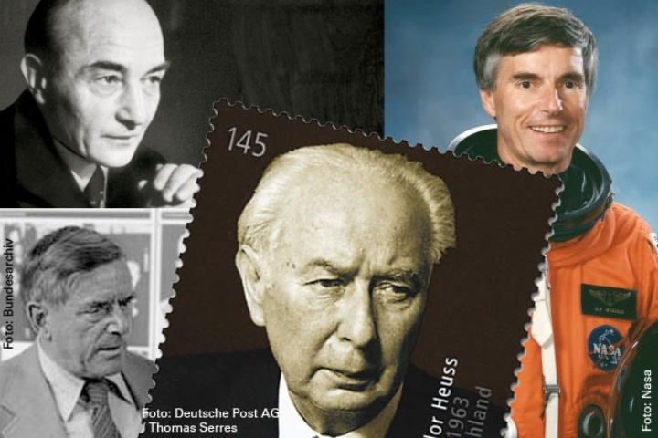 Left their marks on society: Robert Musil (top left), Golo Mann (bottom left), Theodor Heuss (middle) and Ulf Merbold (right). (c) Gemeinfrei, Bundesarchiv, Deutsche Post AG, NASA