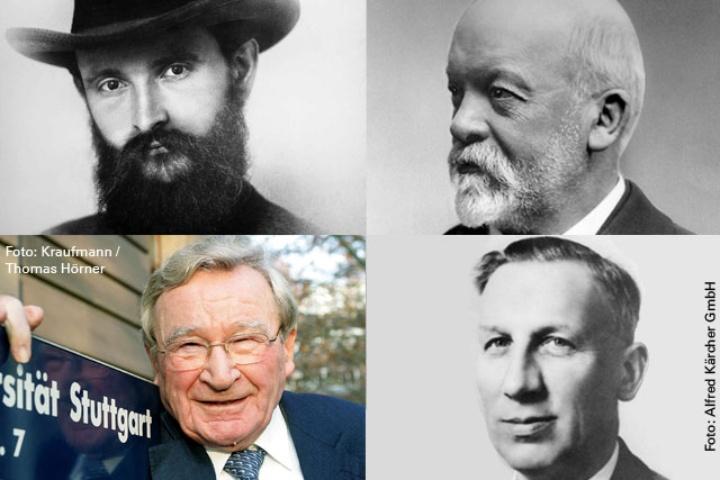 Maschinenbauer (von links oben im Uhrzeigersinn): Robert Bosch, Gottlieb Daimler, Alfred Kärcher und Artur Fischer. Bildrechte: Gemeinfrei (2), Alfred Kärcher GmbH, Kraufmann / Thomas Hörner (c)