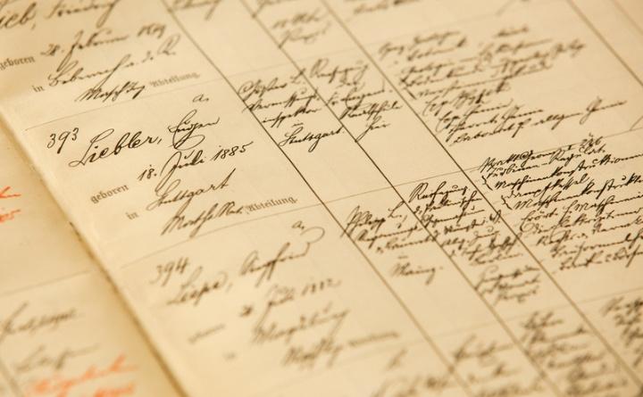 Foto einer Immatrikulationsliste von etwa 1900 (c)