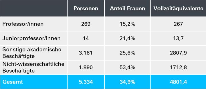 Zum Stichtag 1.12.2018 waren 5334 Personen an der Universität Stuttgart beschäftigt. (c)